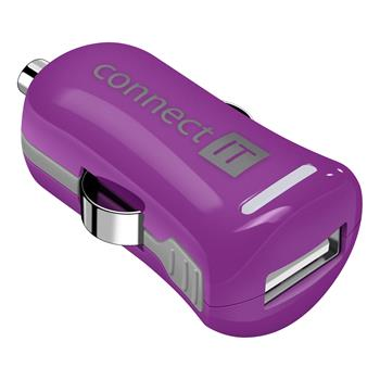 CONNECT IT InCarz COLORZ nabíječka do auta 1xUSB 2,1A, fialová (V2)